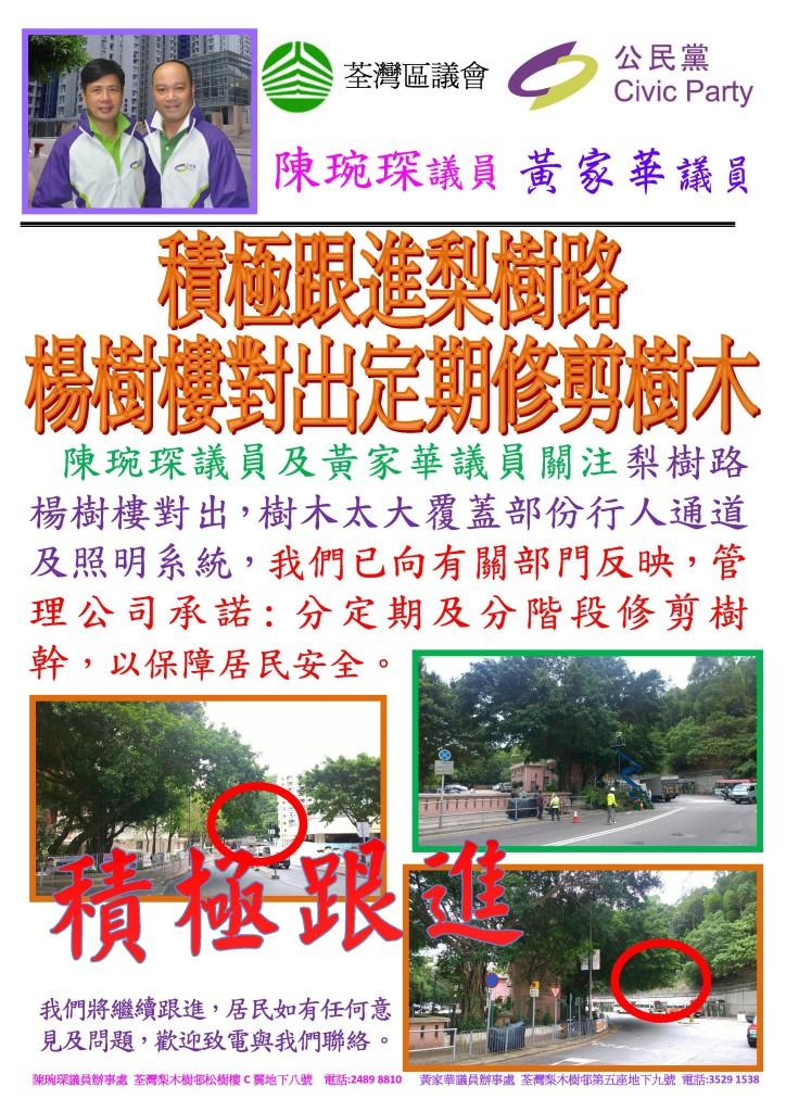 黃家華議員 - 15年5月29日 梨樹路楊樹樓對出修樹
